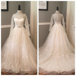 NEW IVORY TULLE JEWELED PRINCESS ROYALTY BALL GOWN